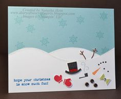 Cute Card...Diary of Two Crafty Girls -Snow Day - Let's Build a Snowman.