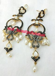 "Art Nouveau 3.84c Pave Rose Cut Diamond Pearl 3.50"" Long Earrings Dangle VTJ RBW #realbeautyofwoman"