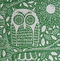 Owl by Moonlight  Linocut by InkyprintsOriginals on Etsy, $24.00