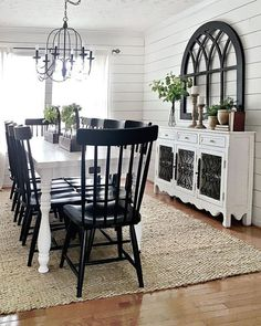 I want a lobg skinny table for my dining room! - A Cool 42 Stylish Modern Farmhouse Dining Room Remodel Ideas. - Dream Homes Today Farmhouse Dining Room Table, Dining Room Wall Decor, Elegant Dining Room, Dining Room Design, White Dining Room Table, Black And White Dining Room, White Farmhouse Table, Kitchen Decor, Kitchen Ideas