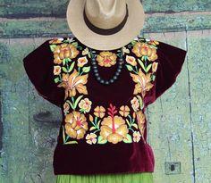 Hand Embroidered Tehuana Mexico Maroon Velvet Huipil Frida Kahlo Santa Fe Style  #Handmade #Huipiltunic