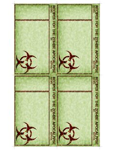 zombie printable | zombie halloween printable recipe cards Door decs, invitations, print recipe from a microwavable program and give them out at a party favor?