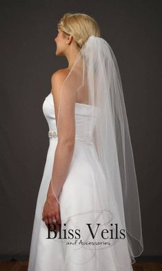 Wedding Veil with Classic Pencil Edge - One Layer Veil - Available in 9 Lengths & 10 Colors, Fast Shipping! Wedding Veils, Wedding Dresses, Ivory Veil, Black Veil, Wedding Attire, Rustic Wedding, Wedding Ideas, One Shoulder Wedding Dress, Layers