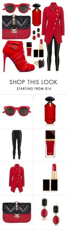 """""""Red + Black"""" by alyssawui ❤ liked on Polyvore featuring ShoeDazzle, Yves Saint Laurent, Victoria's Secret, Balmain, Vivienne Westwood, Tom Ford, Valentino, 1st & Gorgeous by Carolee and Marni"""