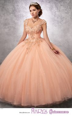 Princess style 4Q491 • Sparkling tulle quinceanera ball gown with strapless sweetheart neck line, ruched bodice embellished with lace and beads, detachable straps, basque waist line, and lace-up back.