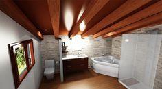 Proyecto baño casa rural con bañera hidromasaje y ducha