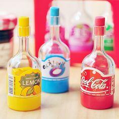 Free Shipping Novelty Drink Bottle Pencil Sharpener + Eraser Promotional Gift Stationery Wholesale $8.39
