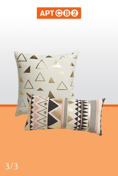 This trio of accent pillows will add a touch of pop and a little bit of bling to any lounge area. The black and white one looked great opposite the black and white hammock in the #APTCB2 Rooftop. See them in the #APTCB2 Collection at www.cb2.com/APTCB2 #pillows