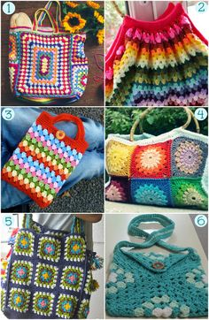 Granny Crochet: 20 Project Ideas and Free Patterns - Thankyou! - another mix of our favourite things - Granny Squares and Handbags!!