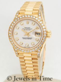 Ladies Pres with Diamond dial, bezel and lugs.  Perfect way to get through the week!!!!  For info please view our website www.Jewelsintime.com