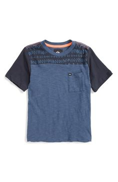 Free shipping and returns on Quiksilver 'Remix' Colorblock Crewneck T-Shirt (Toddler Boys, Little Boys & Big Boys) at Nordstrom.com. Color-blocked stripes—including print patterns and slubby cotton—style a supersoft crewneck T-shirt outfitted with a chest pocket and contrast-stitched shoulders.