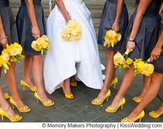 Yellow flowers, yellow shoes, grey dresses- Good color scheme!