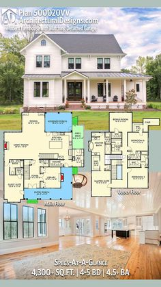 Plan Modern Farmhouse Plan with Matching Detached Garage - Plan Modern Farmhouse Plan with Matching Detached Garage Sign me up. Architectural Designs Modern Farmhouse Plan has an L-shaped front with an a private entry to a guest suite, perf Farmhouse Layout, Modern Farmhouse Plans, Farmhouse Style, Farmhouse Bedrooms, Farmhouse House Plans, Craftsman Farmhouse, Rustic Farmhouse, Farmhouse Addition, Southern Farmhouse