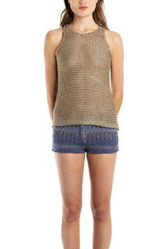 $89 Vince Tank Top Loose Knit Womens Size S Ecru Tan Rayon MSRP 220 New