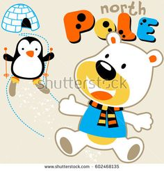 polar bear playing ski with penguin in north pole, kids t shirt design, wallpaper, vector cartoon illustration
