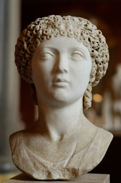 Portrait of a young woman, maybe an Eastern princess brought up in Rome, formerly identified with Poppaea Sabina. Dates from 55 until 60 AD, made of marble. Courtesy & currently located at the Louvre, France. Photo taken by Marie-Lan Nguyen Roman Sculpture, Sculpture Art, Metal Sculptures, Abstract Sculpture, Bronze Sculpture, Sculpture Romaine, Roman Hairstyles, Art Romain, Marble Bust