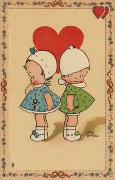Vintage Valentines by Mabel Lucie Attwell Valentine Images, My Funny Valentine, Valentines Greetings, Vintage Valentine Cards, Vintage Greeting Cards, Valentine Day Cards, Vintage Postcards, Amor Vintage, Drawing For Kids