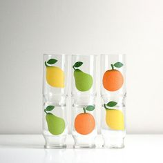 Textured Fruit Glasses Set Of 6, $80, now featured on Fab.