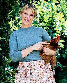 Irish Celebrity Chef Rachel Allen with her chickens in Cork, Ireland