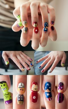 Avengers nails. This is so cool!