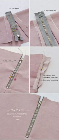 { Cómo : } Coser una cremallera expuesta (con una costura) Pattern Runway - Sewing Patterns for the modern seamstress.: {How to:} Sew an Exposed Zipper (with a seam) Sewing Basics, Sewing Hacks, Sewing Tutorials, Sewing Crafts, Sewing Patterns, Sewing Tips, Sewing Ideas, Skirt Patterns, Dress Tutorials