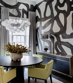 gorgeous 33 Glamorous Home Interior Decoration Ideas With Wall Paint Combination Hand Painted Wallpaper, Hand Painted Walls, Painted Wall Murals, Black Painted Walls, Black Walls, Decor Interior Design, Furniture Design, Interior Decorating, Modern Furniture
