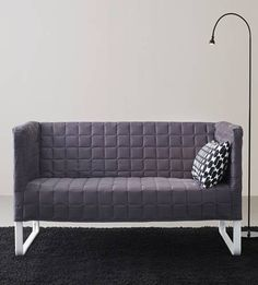 Ikea KNOPPARP mini sofa - grey. I absolutely LOVE this little couch. It's the perfect size for the tiny house (or any small space), weighs under 40lbs, is designed to be able to be transported home ON A BUS/SUBWAY, has a soft washable cover and we can paint out the legs in an antiqued bronze to match our antiques. It has space underneath for storage and it's also surprisingly comfortable. And it's only $149.00. WANT.