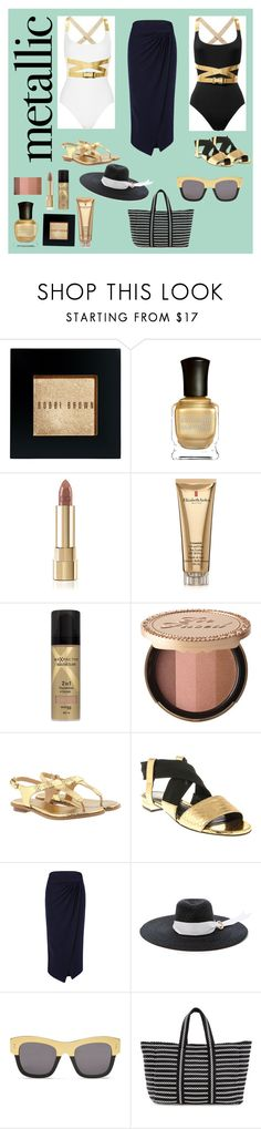 """""""The Black and White on Metallics (contest)"""" by scolab ❤ liked on Polyvore featuring Bobbi Brown Cosmetics, Deborah Lippmann, Dolce&Gabbana, Elizabeth Arden, Max Factor, Too Faced Cosmetics, MICHAEL Michael Kors, Loriblu, Atea Oceanie and Littledoe"""