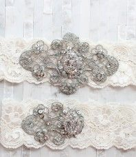Vintage lace and crystal garters! I MUST have one of these for my wedding day!!! <3 <3 <3