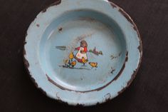 Vintage Farmhouse Blue Enamelware Baby Dish Girl Chicks on Etsy, $34.76 CAD