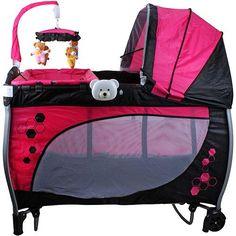 Berço Balanço com Trocador e Mobile Baby Style Rosa  DE R$ 699,00 - (desconto de 30%) POR R$ 486,99 em até 9x de R$ 54,11 sem juros⤵⤵⤵⤵