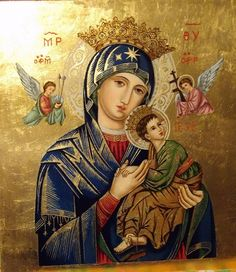 Icon of Our Lady of Perpetual Help Blessed Mother Mary, Divine Mother, Blessed Virgin Mary, Religious Images, Religious Icons, Religious Art, Jesus And Mary Pictures, Mary And Jesus, Catholic Pictures