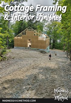 Check out this update on our Rocky Retreat build! This time, it's a tour of the cottage framing and interior finishes we have planned. Icf Blocks, Cottage Design, House Design, Tongue And Groove Plywood, Taupe Colour, Roof Trusses, Entry Hallway, Outdoor Projects