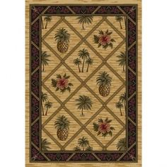 Milliken Signature Golden Topaz Palm and Pineapple Rug - 7360C/4000