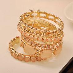 Bohemia Style Square Rhinestone Embellished Bracelets