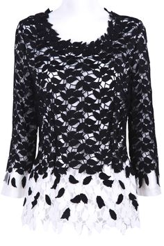 Black and White Long Sleeve Leaf Lace Blouse