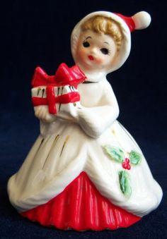 VINTAGE JOSEF ORIGINAL PORCELAIN BELL FIGURINE HOLIDAY GIRL CHRISTMAS 1960's