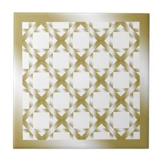 """Gold Diamond Squared Ceramic Tile on White Shiny Gold squares tiled and layered to create a 3D image. Shown on a White background. Click on the """"Customize it!"""" button for more options.  Artwork by Karlajkitty"""