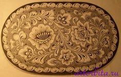 Рисунок. Кудрина на овальном изделии - хохломская роспись