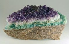 Amethyst crystals on layer of green Fluorite / Amethyst Queen Claim, Unaweep Canyon, Colorado