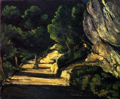 Paul Cézanne.  Landschaft. Um 1870, Öl auf Leinwand, 53,7 × 65 cm. Frankfurt am Main, Städelsches Kunstinstitut. Landschaftsmalerei. Frankreich. Postimpressionismus.  KO 01119