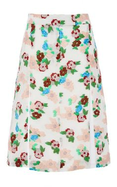 Pleat Front Floral Skirt by Thom Browne Now Available on Moda Operandi