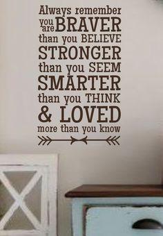 Always remember you are BRAVER STRONGER SMARTER Vinyl Wall