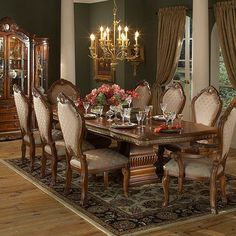 NEW! Formal 12 Piece Renae Dining Room Set Table w/leaves, 10 Chairs ...