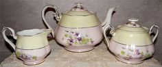 "ROYAL ALBERT ""VIOLET"" TEAPOT - CREAMER & SUGAR - Made for Lunning Inc. 1940"