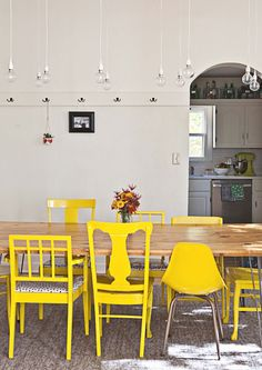 Mismatched chairs painted yellow for the dining room! Mismatched chairs painted yellow for the dining room! Dining Room Walls, Dining Area, Living Room, Dinning Chairs, Chairs For Dining Table, Yellow Dining Room, Kitchen Paint, Kitchen Dining, Kitchen Decor
