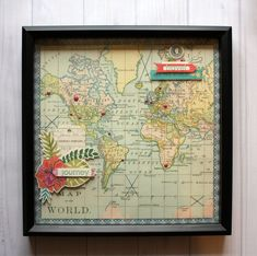 Great idea using the new map paper by Basic Grey - enamel dots to record places you have been