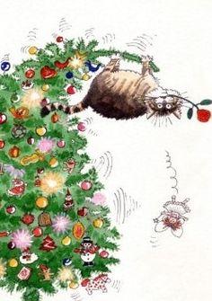 Illustration by Gary Patterson? Noel Christmas, Christmas Animals, Christmas Cats, All Things Christmas, Vintage Christmas, Funny Christmas, Christmas Greetings, Xmas, Christmas Graphics