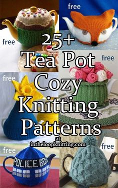 Knitting patterns for tea pot cozies. Most of the patterns are free