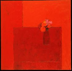 Bernard Cathelin - Nature morte rouge au vase rouge et bouquet rouge ⋅ 2002 — 150 × 150 cm